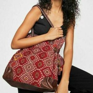 Free People Boho Tapestry Leather Tote Bag NWOT